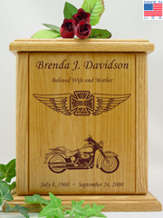 Iron Cross and Wings Custom Motorcycle Urn