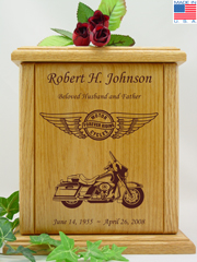 Circle and Wings Tour Motorcycle Urn