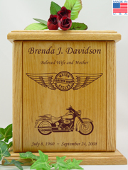 Circle and Wings Custom Motorcycle Urn