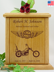 Circle and Wings Chopper Motorcycle Urn