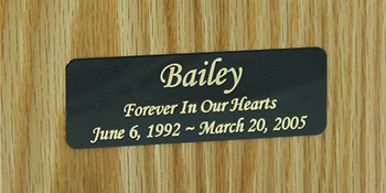 Pet Urn Engraved Plate on Natural Colored Oak